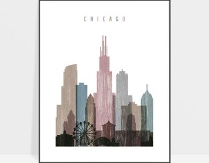 Chicago skyline poster distressed 1