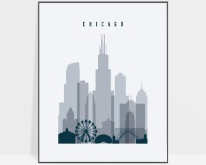 Chicago skyline poster grey blue