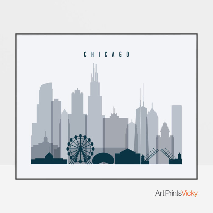 Chicago skyline art grey blue landscape