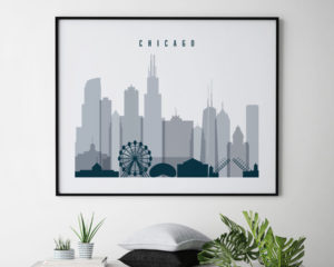 Chicago skyline art grey blue landscape second