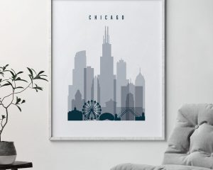 Chicago skyline poster grey blue second
