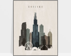 Chicago skyline print distressed 2