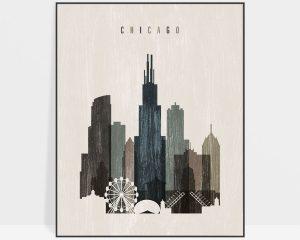 Chicago skyline print distressed 2