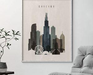 Chicago skyline print distressed 2 second