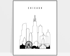 Chicago black and white skyline poster