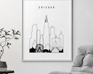 Chicago black and white skyline poster second