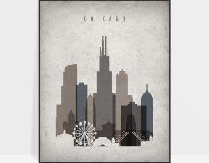 Chicago skyline wall art retro