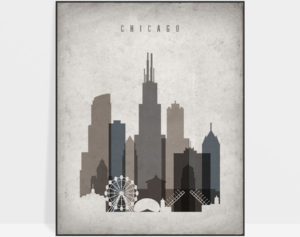 Chicago skyline wall art retro