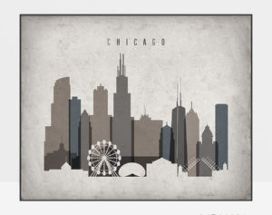 Chicago art print landscape retro