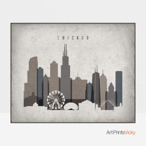 Chicago art print landscape retro