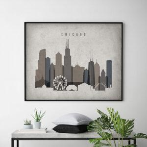 Chicago art print landscape retro second
