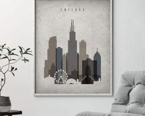 Chicago skyline wall art retro second