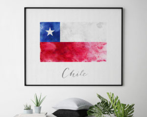 Chile flag art print second