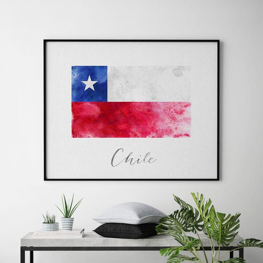 Chile flag art print second