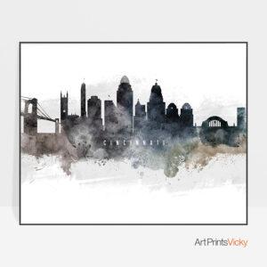Cincinnati skyline poster landscape