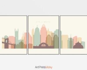 Cincinnati cream pastel skyline set of 3 prints