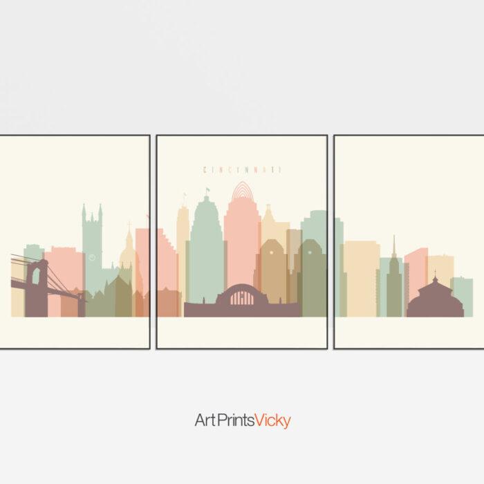 Cincinnati Skyline 3 Prints Set Pastel