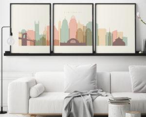 Cincinnati cream pastel skyline set of 3 prints second