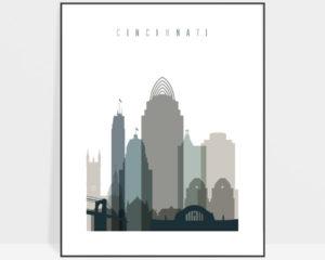 Cincinnati art print skyline earth tones 4