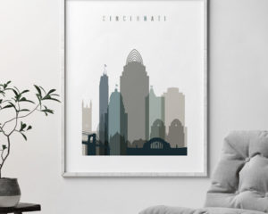 Cincinnati art print skyline earth tones 4 second
