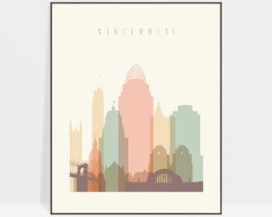 Cincinnati art print skyline pastel cream