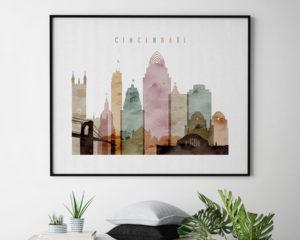 Cincinnati poster watercolor 1 landscape second