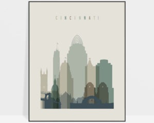 Cincinnati print skyline earth tones 1