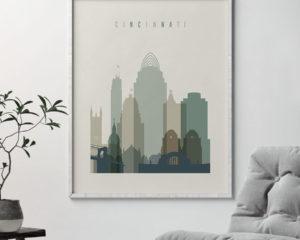 Cincinnati print skyline earth tones 1 second