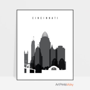 Cincinnati skyline black and white poster