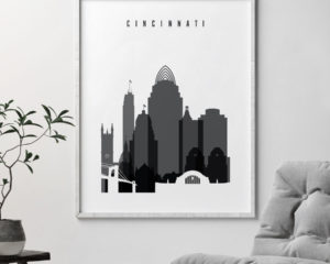 Cincinnati skyline black and white poster second