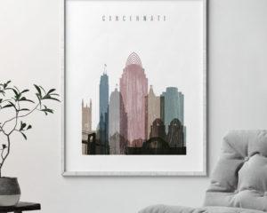 Cincinnati skyline poster distressed 1 second
