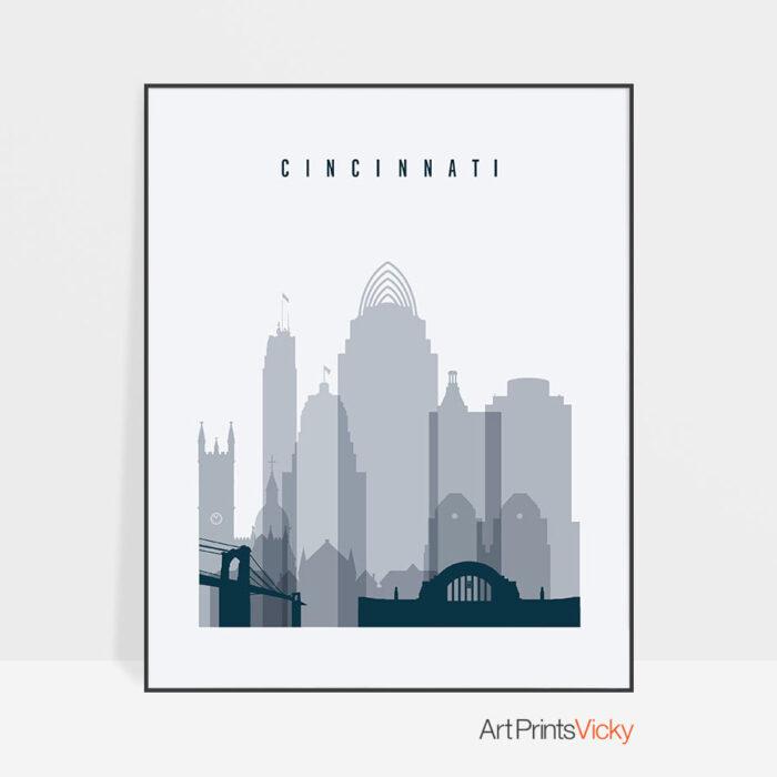 Cincinnati skyline poster grey blue