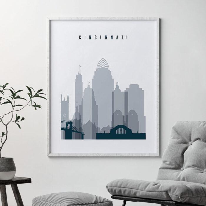 Cincinnati skyline poster grey blue second