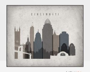 Cincinnati art print landscape retro