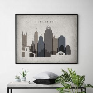 Cincinnati art print landscape retro second