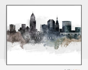 Cleveland art poster watercolor