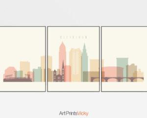 Cleveland cream pastel skyline set of 3 prints