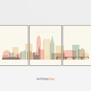 Cleveland cream pastel skyline set of 3 prints
