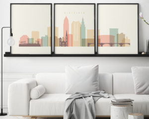 Cleveland cream pastel skyline set of 3 prints second