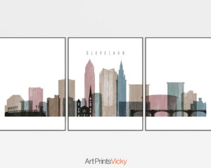 Cleveland distressed 1 skyline set of 3 prints