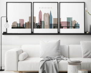 Cleveland distressed 1 skyline set of 3 prints second