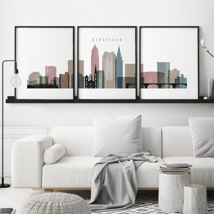 Cleveland distressed 1 skyline set of 3 prints second