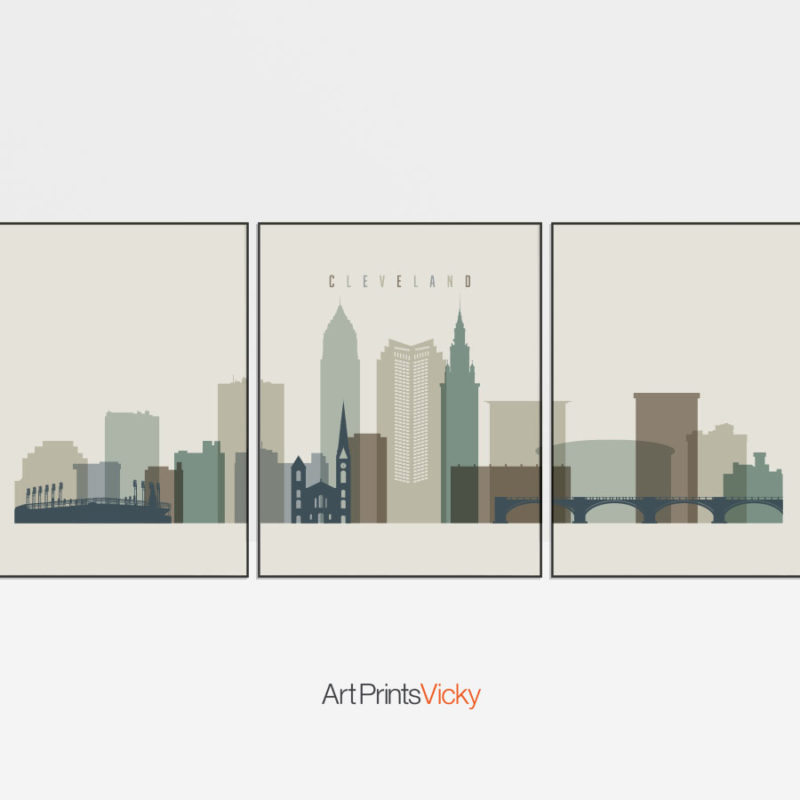 Cleveland earth tones 1 skyline set of 3 prints