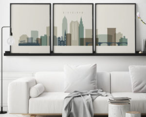 Cleveland earth tones 1 skyline set of 3 prints second