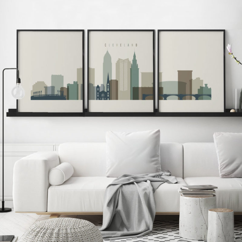 Cleveland earth tones 1 skyline set of 3 prints second