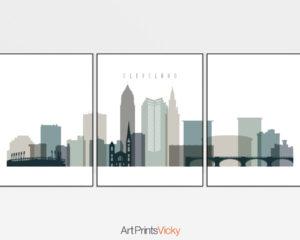 Cleveland earth tones 4 skyline set of 3 prints