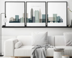 Cleveland earth tones 4 skyline set of 3 prints second