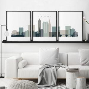 Cleveland earth tones 4 skyline set of 3 prints second