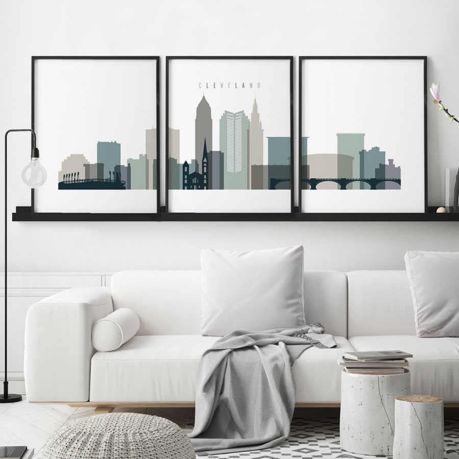 Cleveland earth tones 4 skyline set of 3 prints | ArtPrintsVicky
