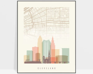 Cleveland map print poster pastel cream